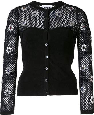 Moschino flower embellished fishnet top