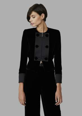 Giorgio Armani Velvet Jacket With Zip And Contrast Fabric Bib Front