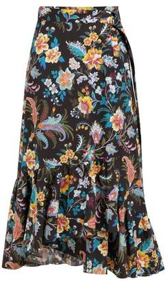 Etro Cheshire Floral Print Cotton Wrap Midi Skirt - Womens - Black Multi