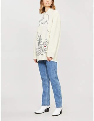 Calvin Klein Face-intarsia wool jumper
