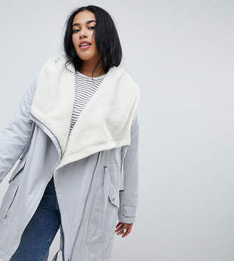 Asos DESIGN Curve waterfall parka with borg liner