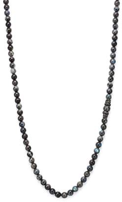"""Armenta Old World Midnight Labradorite Bead Necklace with Carved Tahitian Pearl and Black Sapphire, 39"""""""
