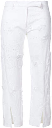 Ann Demeulemeester ripped detail cropped trousers