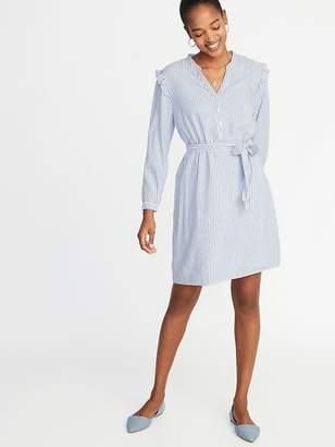 Old Navy Tie-Belt Ruffle-Trim Shift Dress for Women