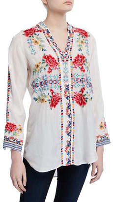 Johnny Was Ligia Embroidered Long Blouse