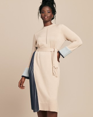Yigal Azrouel Silk Cashmere Pull Over Dress with Pleat