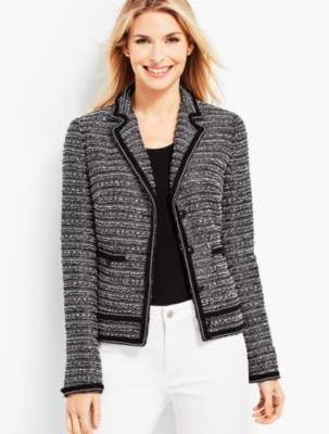 Talbots Fringe-Trim Tweed Jacket