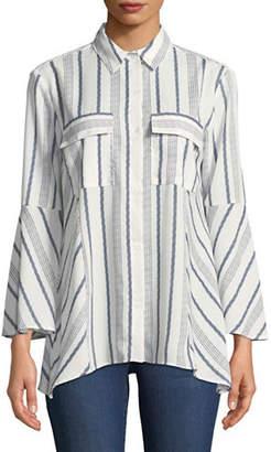 Jones New York Striped Bell Sleeve Blouse