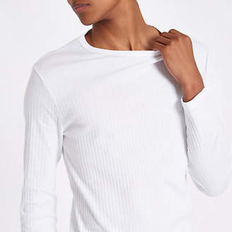 River Island White ribbed slim fit long sleeve T-shirt