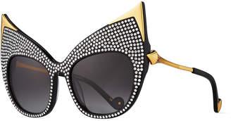 Swarovski Anna Karin Karlsson Billion Dollar Babes Ultra Cat-Eye Sunglasses, Black/Gold