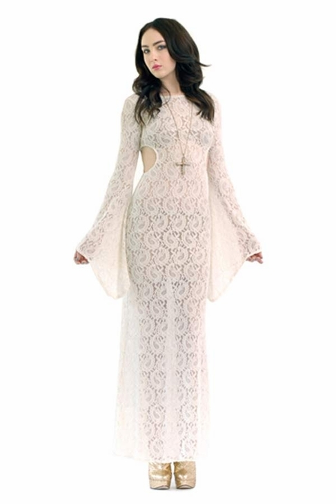 American Gold Sacred Heart Cut Out Maxi in White Lace