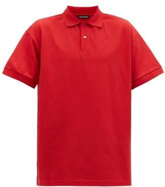 Balenciaga Logo Embroidered Cotton Pique Polo Shirt - Mens - Red