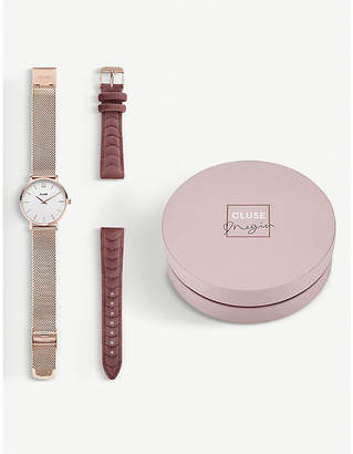 Cluse Negin CLG006 Minuit stainless steel rose-gold mesh and velvet watch gift set