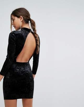 boohoo Open Back Velvet Mini Dress