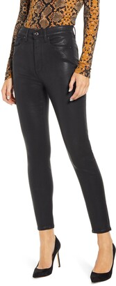7 For All Mankind b)air Coated High Waist Ankle Skinny Jeans