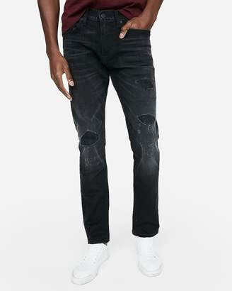 Express Slim Black Destroyed Stretch Jeans