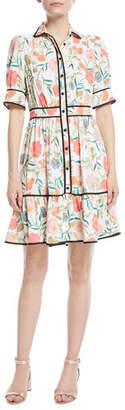Kate Spade Blossom Fluid Short-Sleeve Shirtdress