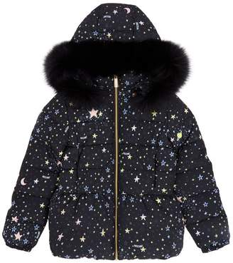 Moschino Galaxy Print Hooded Quilted Jacket
