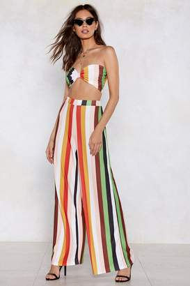 Nasty Gal Get Straight to the Point Striped Bra Top and Pants Set
