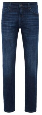 BOSS Regular-fit jeans in dark-blue used-effect stretch denim