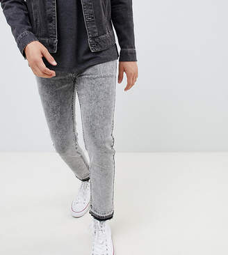 Heart & Dagger skinny jean with raw hem in grey acid wash