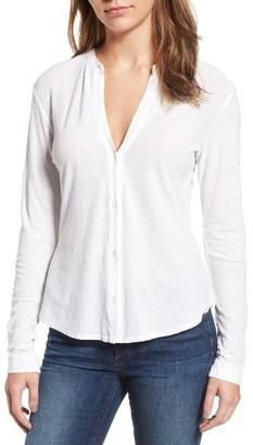 Women's James Perse Cotton & Linen Button Front Tee $165 thestylecure.com