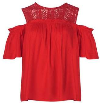 Dorothy Perkins Womens Red Lace Cold Shoulder Top