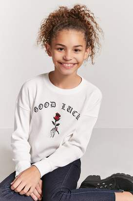 Forever 21 Girls Good Luck Graphic Top (Kids)
