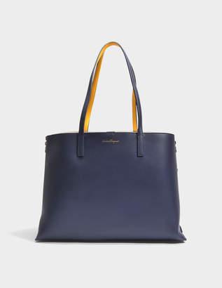 Salvatore Ferragamo Jet Set Tote Bag in Blue Dolce T Leather