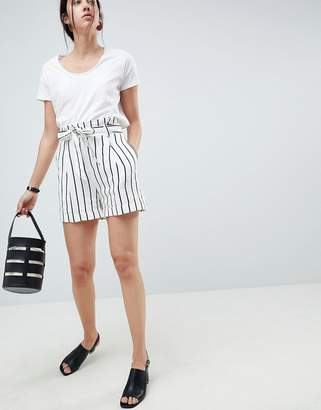 Asos DESIGN tailored linen casual short with tie waist in stripe