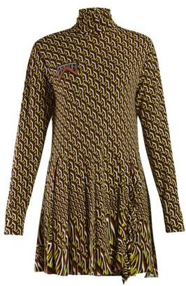 Prada Roll Neck Geometric Print Mini Dress - Womens - Green Multi