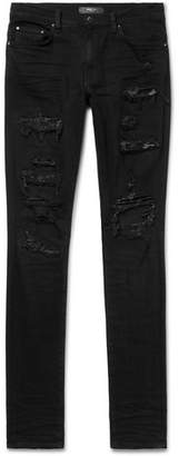 Amiri Crystal Thrasher Skinny-Fit Embellished Distressed Stretch-Denim Jeans