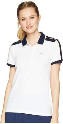 Lacoste Roland Garros Stretch Mini Pique Contrast Trim Polo Women's Short Sleeve Knit