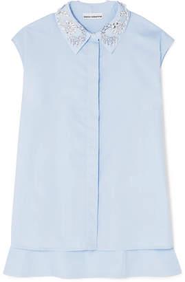 Paco Rabanne Embellished Cotton-poplin Shirt - Blue