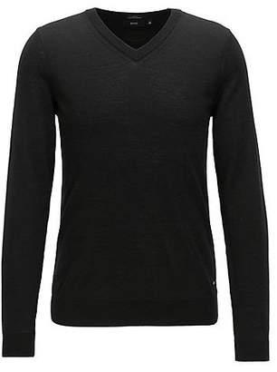 HUGO BOSS V-neck sweater in mulesing-free wool