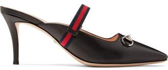 Gucci Emma Horsebit-detailed Grosgrain-trimmed Leather Mules