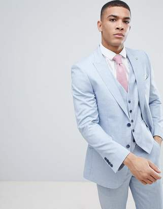 Burton Menswear Wedding Skinny Suit Jacket in light blue