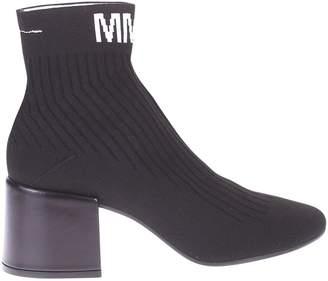 MM6 MAISON MARGIELA Black Branded Ankle Boots