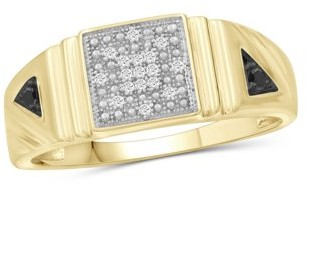 Jewelrsclub JewelersClub 1/7 Carat T.W. Black And White Diamond 14k Gold Over Silver Men's Ring