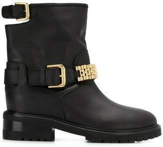 Via Roma 15 embellished buckle boots