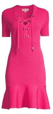 MICHAEL Michael Kors Lace Up Rib-Knit Fit-&-Flare Dress