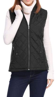 Unique Bargains Women's Mock Pocket Quilted Padded Vest Warm Jacket Coat Outerwear