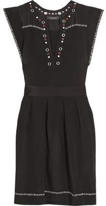 Isabel Marant Button And Eyelet-Embellished Silk-Twill Mini Dress