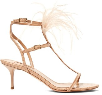 Aquazzura Ponza 60 Feather Embellished Leather Sandals - Womens - Nude