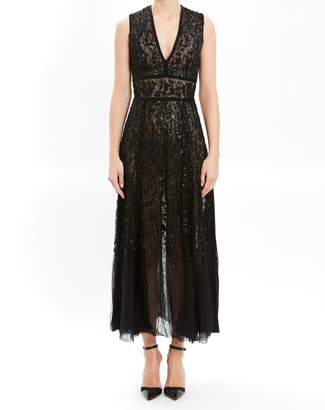 J. Mendel Black Sleeveless Lace Embroidered Cocktail Dress
