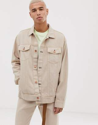 Cheap Monday oversize denim jacket in off pink
