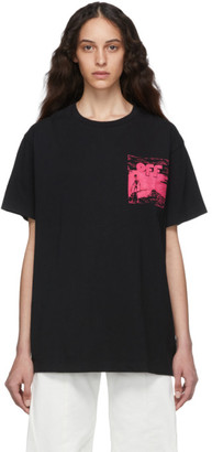 Off-White Off White Black and Pink Skulls Floating Over T-Shirt