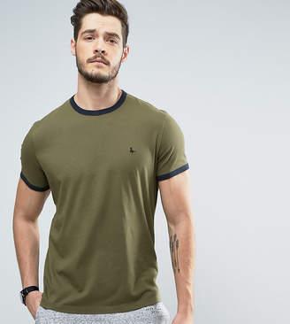 Jack Wills Baildon Ringer T-Shirt in Khaki