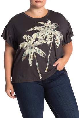 Democracy Sequined Palm Tree Print T-Shirt (Plus Size)