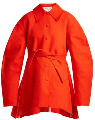 Awake Raw Edge Tie Fastening Cotton Coat - Womens - Red